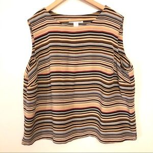 Jones New York Neutral Striped Sleeveless Blouse